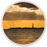 Golden Rays At Cape May Round Beach Towel
