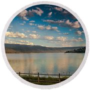 Golden Reflection On Lake Cascade Round Beach Towel by Robert Bales