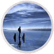 Golden Retriever Dogs End Of The Day Round Beach Towel