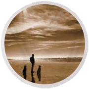 Golden Retriever Dogs End Of The Day Sepia Round Beach Towel by Jennie Marie Schell