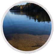 Golden Ripples Bedrock - Fall Reflection Tranquility Round Beach Towel