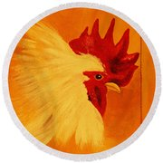 Golden Rooster Round Beach Towel