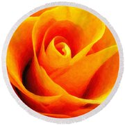 Golden Rose - Digital Painting Effect Round Beach Towel