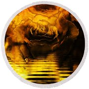 Golden Rose On The Lake Round Beach Towel
