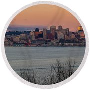 Golden Seattle Skyline Sunset Round Beach Towel