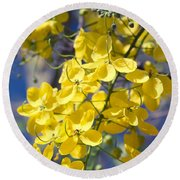 Golden Shower Tree - Cassia Fistula - Kula Maui Hawaii Round Beach Towel