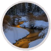 Golden Silence Round Beach Towel