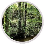 Golden Silence In The Forest Round Beach Towel