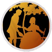 Golden Silhouette Garden Proposal Will You Marry Me Round Beach Towel