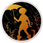 Golden Silhouette Of Child And Geese Walking In The Rain Round Beach Towel