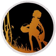 Golden Silhouette Of Child With Basket Walking In The Woods Round Beach Towel