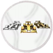 Golden Silver Bronze Race Car Color Sketch Round Beach Towel
