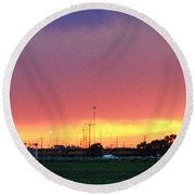 Golden Spike Sunset Round Beach Towel