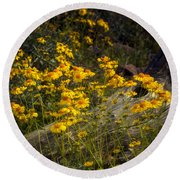Golden Spring Flowers  Round Beach Towel