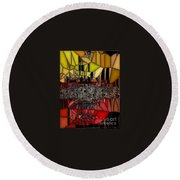 Golden Stained Abstract Round Beach Towel