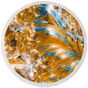 Golden Steel Swirl Round Beach Towel