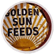 Golden Sun Feeds Round Beach Towel
