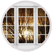 Golden Sun Silhouetted Tree Branches White Window View Round Beach Towel