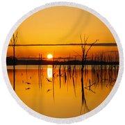 Golden Sunrise IIi Round Beach Towel