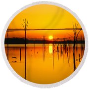 Golden Sunrise Iv Round Beach Towel