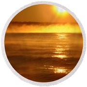 Golden Sunrise Over The Water Round Beach Towel
