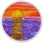 Golden Sunset 2 Round Beach Towel