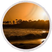 Golden Sunset At Laguna Round Beach Towel