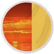 Golden Sunset Glow Round Beach Towel