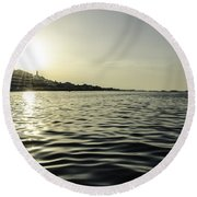 Golden Sunset In Italy Round Beach Towel