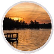 Golden Sunset Lake Horicon Lakehurst Nj Round Beach Towel