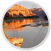Golden Sunset On The Colorado Round Beach Towel by Marty Koch