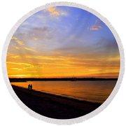 Golden Sunset On The Harbor Round Beach Towel