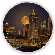 Golden Supermoon Round Beach Towel