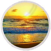Golden Surprise Sunrise Round Beach Towel