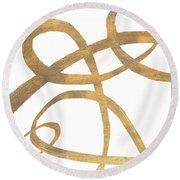 Golden Swirls Square II Round Beach Towel