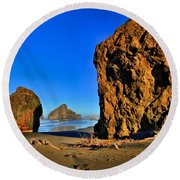 Golden Towers Of Bandon Round Beach Towel