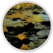 Golden View Of The Little River In Autumn Round Beach Towel by Dan Sproul