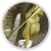 Golden Violin Round Beach Towel