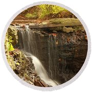 Golden Waterfall October In Ohio Round Beach Towel