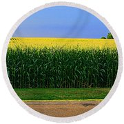 Golden Waves Of Grain Round Beach Towel