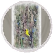 Goldfinch In Wildflowers Round Beach Towel