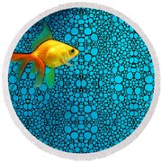 Goldfish Study 3 - Stone Rock'd Art By Sharon Cummings Round Beach Towel