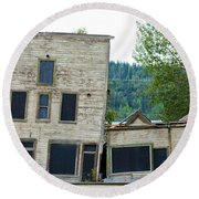Goldrush Heritage Buildings In Dawson City Yukon Round Beach Towel