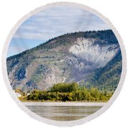 Goldrush Town Dawson City From Yukon River Canada Round Beach Towel
