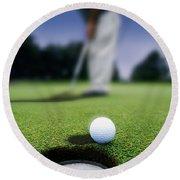 Golf Ball Near Cup Round Beach Towel