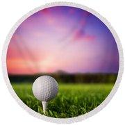 Golf Ball On Tee At Sunset Round Beach Towel