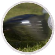Golf Ball On Tee Hit By Driver Round Beach Towel