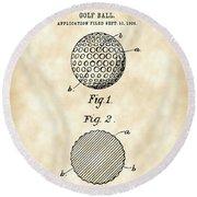 Golf Ball Patent 1906 - Parchment Round Beach Towel