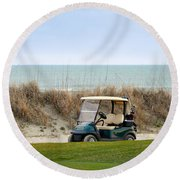 Golf Cart At Kiawah Island Golf Course Round Beach Towel