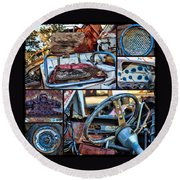 Golf Cart Collage Round Beach Towel